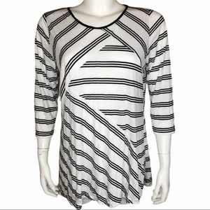 Comfy USA Striped Top Tunic White Black M